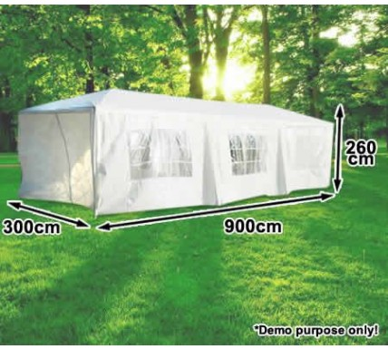 white party gazebo 3x9m 2